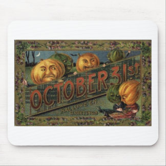 Vintage Halloween Greeting Cards Classic Posters Mouse Pad