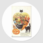 Vintage Halloween Greeting Cards Classic Posters Round Stickers