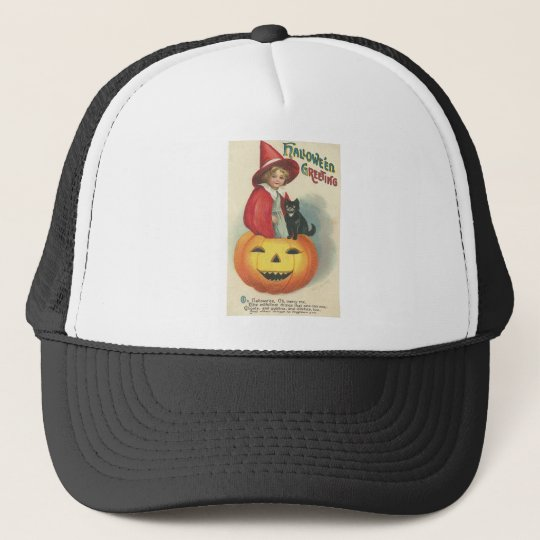 Vintage Halloween Greeting Cards Classic Posters Trucker Hat