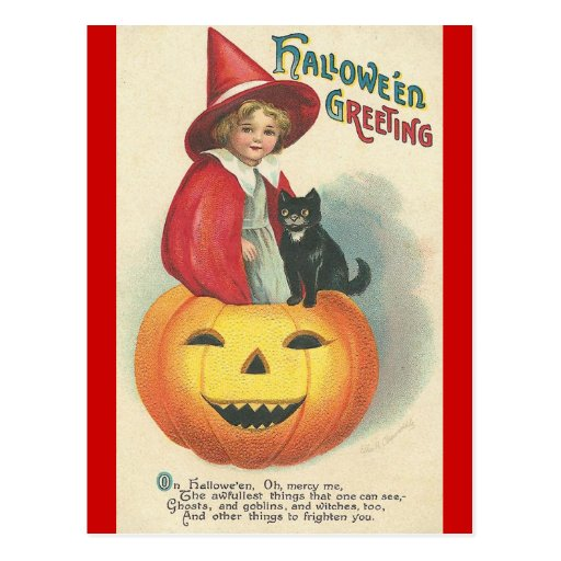 Vintage Halloween Greeting Postcard