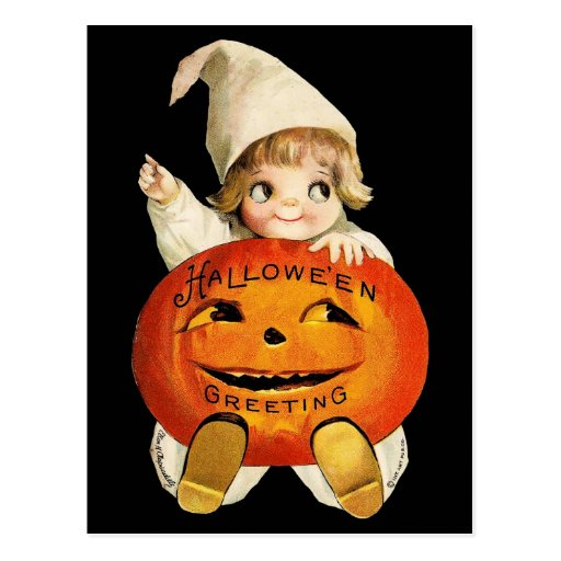 Vintage Halloween Greeting with Little Girl Postcards