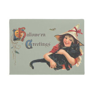 Vintage Halloween Greetings, Child Witch with Cat Doormat