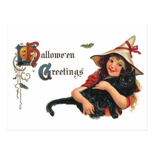 Vintage Halloween Greetings, Child Witch with Cat Postcard