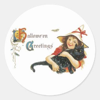 Vintage Halloween Greetings Classic Round Sticker