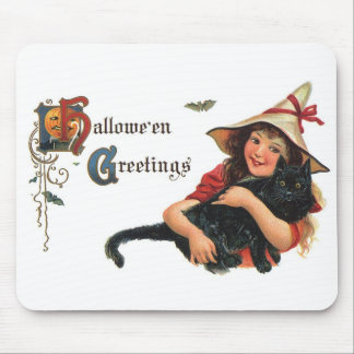 Vintage Halloween Greetings, Cute Witch and Cat Mouse Pad