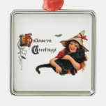 Vintage Halloween Greetings, Cute Witch and Cat Ornament