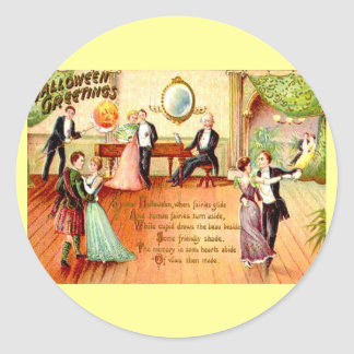 Vintage Halloween Greetings Dancing Classic Round Sticker