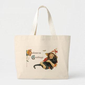 Vintage Halloween Greetings Jumbo Tote Bag