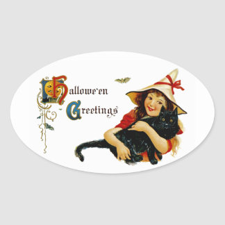 Vintage Halloween Greetings Oval Sticker