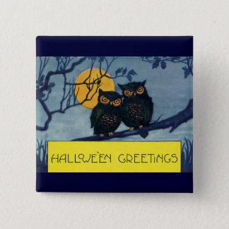 Vintage Halloween Greetings, Owls in Tree w Moon Button