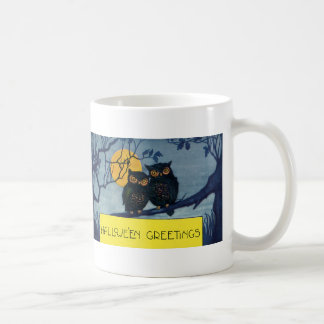 Vintage Halloween Greetings, Owls in Tree w Moon Coffee Mug
