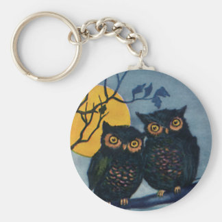 Vintage Halloween Greetings, Owls in Tree w Moon Keychain