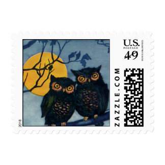 Vintage Halloween Greetings, Owls in Tree w Moon Postage
