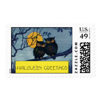 Vintage Halloween Greetings, Owls in Tree w Moon Postage Stamp