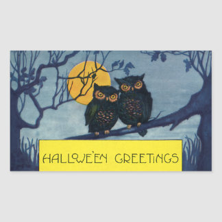 Vintage Halloween Greetings, Owls in Tree w Moon Rectangular Sticker