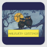 Vintage Halloween Greetings Owls Tree Full Moon Square Stickers