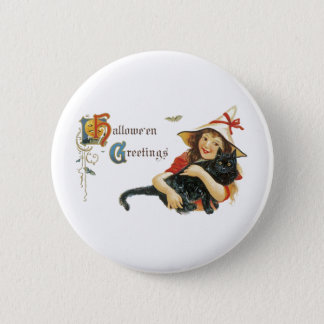 Vintage Halloween Greetings Pinback Button