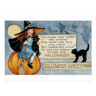 Vintage Halloween Greetings Postcard