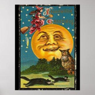 Vintage Halloween Greetings Poster