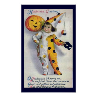 Vintage Halloween Greetings Print