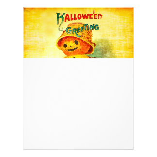 Vintage Halloween Greetings Pumpkin Man Letterhead