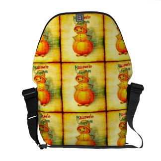 Vintage Halloween Greetings Pumpkin Man Messenger Bag