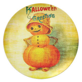 Vintage Halloween Greetings Pumpkin Man Party Plates