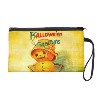 Vintage Halloween Greetings Pumpkin Man Wristlet Purse