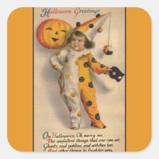 Vintage Halloween Greetings Square Sticker