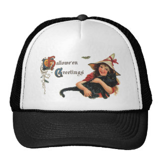 Vintage Halloween Greetings Witch with Cat Trucker Hat
