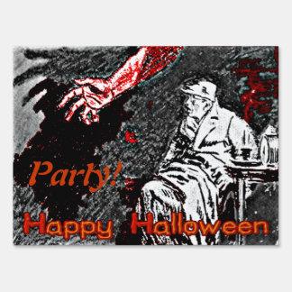 Vintage Halloween Hand in the Dark Halloween Sign