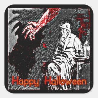 Vintage Halloween Hand in the Dark Square Sticker