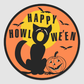 Vintage Happy Halloween Stickers | Zazzle