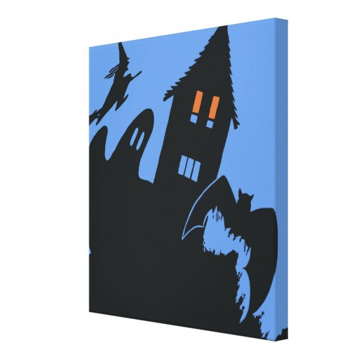 Vintage Halloween Haunted House Witch Ghost Bat Canvas Print