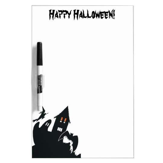Vintage Halloween Haunted House Witch Ghost Bat Dry-Erase Board