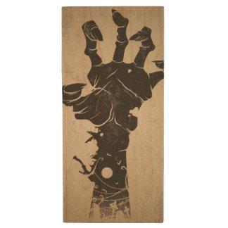 Vintage Halloween Icon - Zombie Hand Wood USB 2.0 Flash Drive