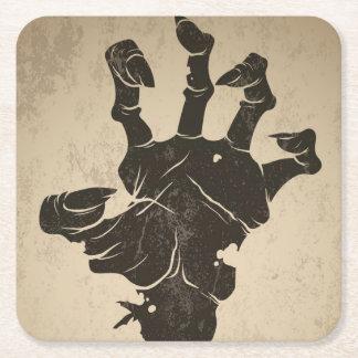 Vintage Halloween Icon - Zombie Hand Square Paper Coaster