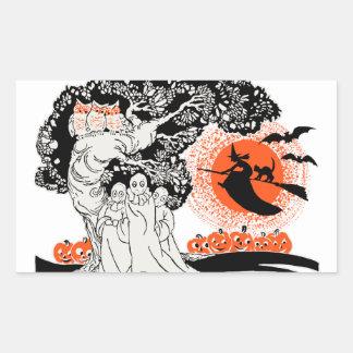 Vintage Halloween Illustration Rectangular Sticker