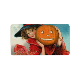 Vintage Halloween Image on  a  shipping  label