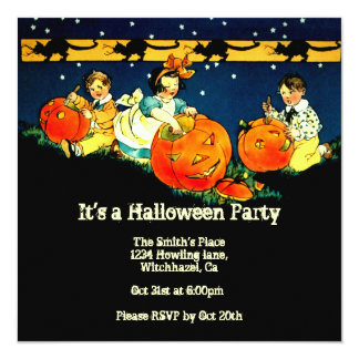 "Vintage Halloween Invitation 5.25"" Square Invitation Card"