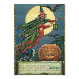 "Vintage Halloween Invitations of a flying Witch 4.5"" X 6.25"" Invitation Card"