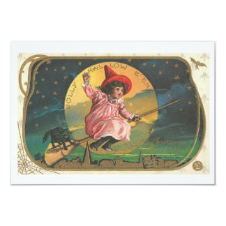 Vintage Halloween Invitations Witch On a Broom