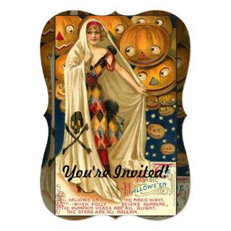 Vintage Halloween Jack O Lantern Girl Card