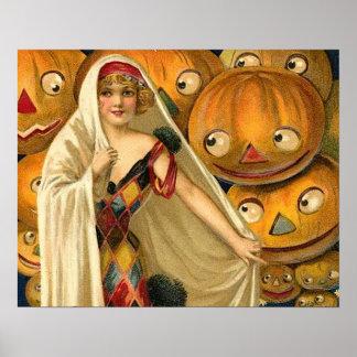 Vintage Halloween Jack O Lantern Girl Print