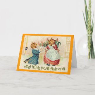 Vintage Halloween Jack o'Lantern Couple card