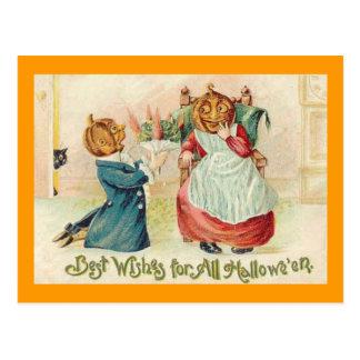 Vintage Halloween Jack o'Lantern Couple Post Card