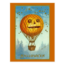 Vintage Halloween JOL Hot Air Balloon Postcard