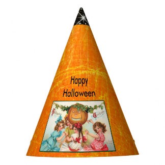 Vintage Halloween Kids and Pumpkin Party Hat