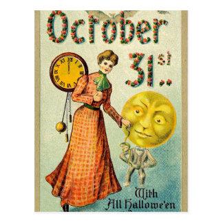 Vintage Halloween lady and pumpkin man postcard