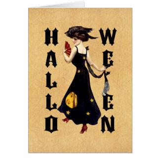 Vintage Halloween Lady Card